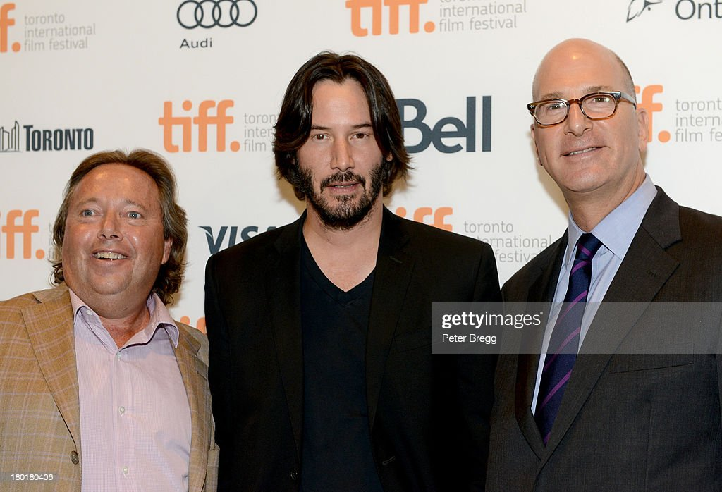 CEO of IMAX Corp Richard L. Gelfond, actor <a gi-track='captionPersonalityLinkClicked' href=/galleries/search?phrase=Keanu+Reeves&family=editorial&specificpeople=171568 ng-click='$event.stopPropagation()'>Keanu Reeves</a> and CEO of IMAX Entertainment and Senior Executive Vice President, IMAX Corp Greg Foster arrive at the 'Metallica: Through The Never' Premiere during 2013 Toronto International Film Festival at Scotiabank Theatre on September 9, 2013 in Toronto, Canada.