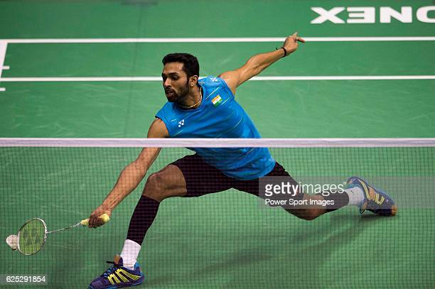 S of India in action while playing against QIAO Bin of China during the 2016 Hong Kong Open Badminton Championships at the Hong Kong Coliseum on...