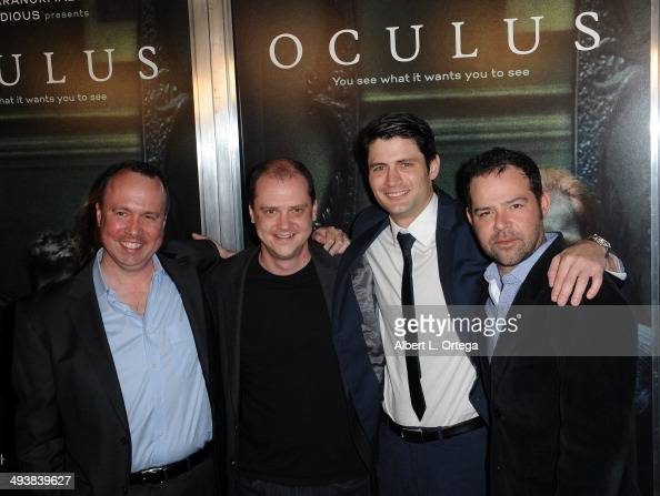 CEO of Intrepid Pictures Trevor Macy director Mike Flanagan actors James Lafferty and Rory Cochran attend the Screening Of Relativity Media's...