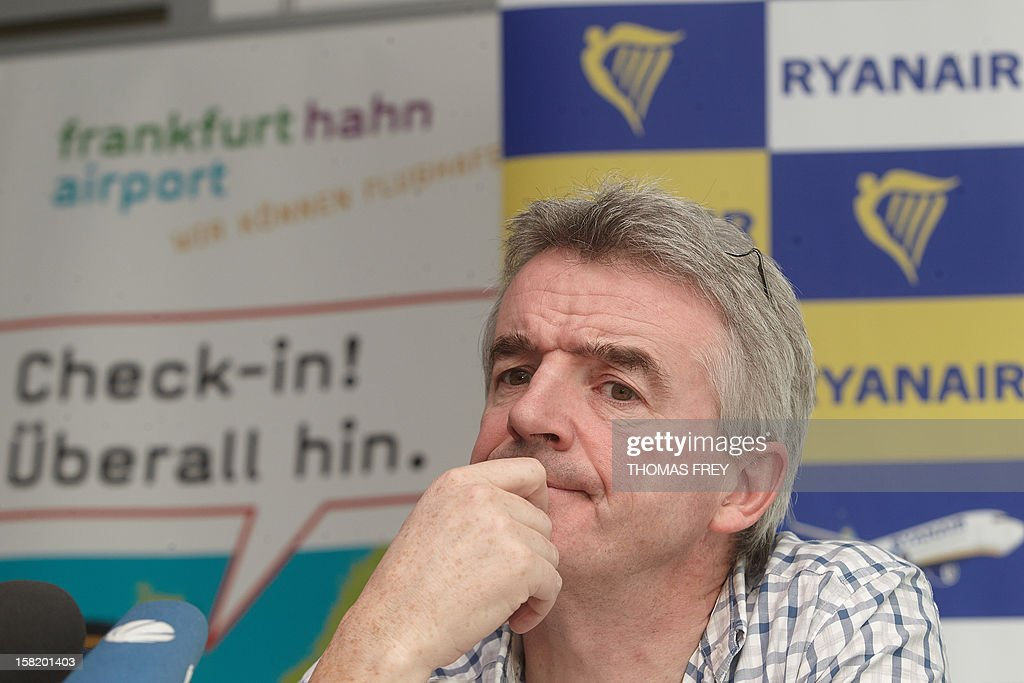 CEO of Irish low-cost airline Ryanair Michael O'Leary addresses a press conference on December 11, 2012 at the airport in Hahn near Frankfurt am Main, western Germany. Ryanair will offer three new destinations from Hahn airport from summer 2013.