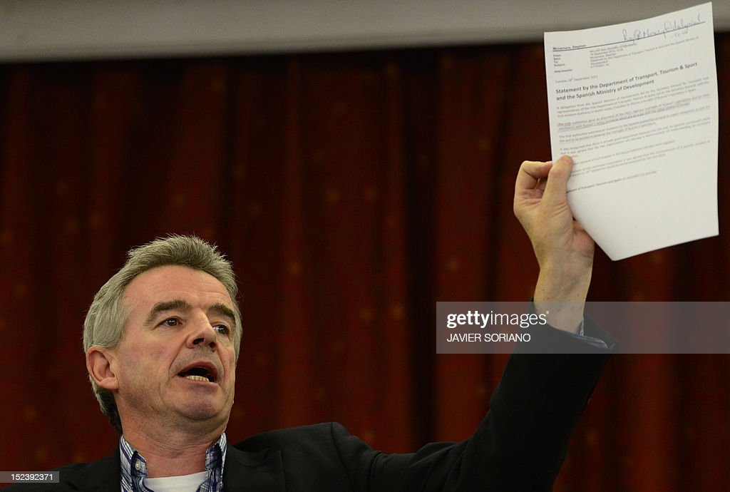 CEO of Irish low-cost airline Ryanair Michael O'Leary gives a press conference in Madrid on September 20, 2012. Ryanair came under fresh pressure recently over safety as the Spanish government sought talks with the European Commission and Irish civil aviation authority over the latest incidents involving the carrier. Three Ryanair planes carried out emergency landings in Spain on the same day last month.