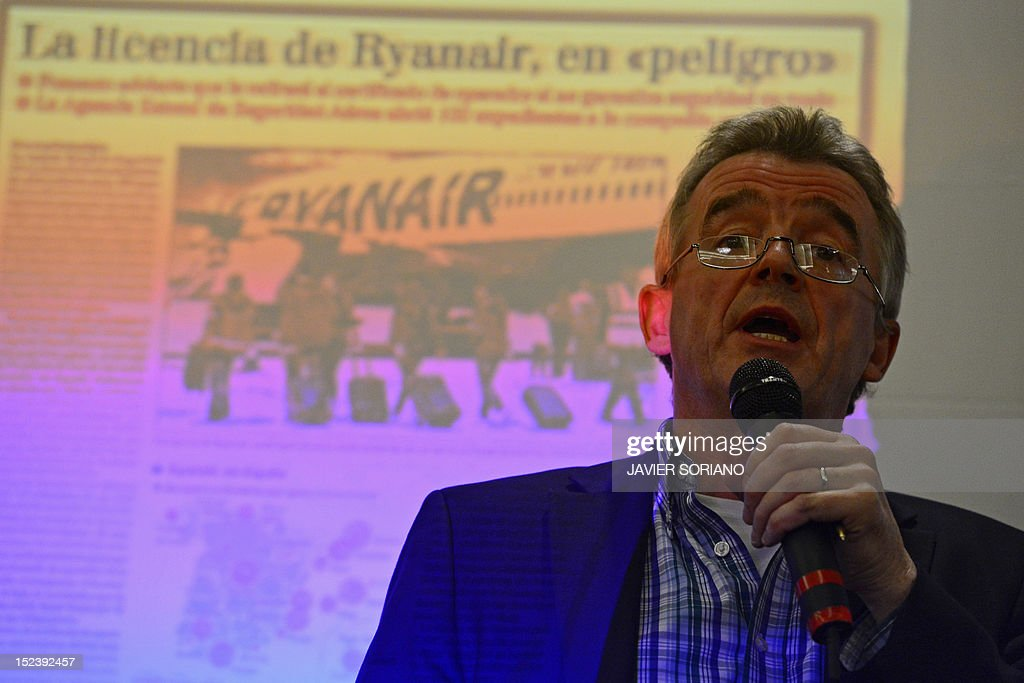 CEO of Irish low-cost airline Ryanair Michael O'Leary gives a press conference in Madrid on September 20, 2012. Ryanair came under fresh pressure recently over safety as the Spanish government sought talks with the European Commission and Irish civil aviation authority over the latest incidents involving the carrier. Three Ryanair planes carried out emergency landings in Spain on the same day last month. AFP PHOTO / JAVIER SORIANO