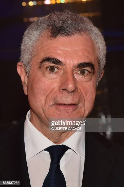 CEO of Italian multinational aerospace and defence company Leonardo Mauro Moretti poses before a press conference in Milan on March 15 2017 / AFP...