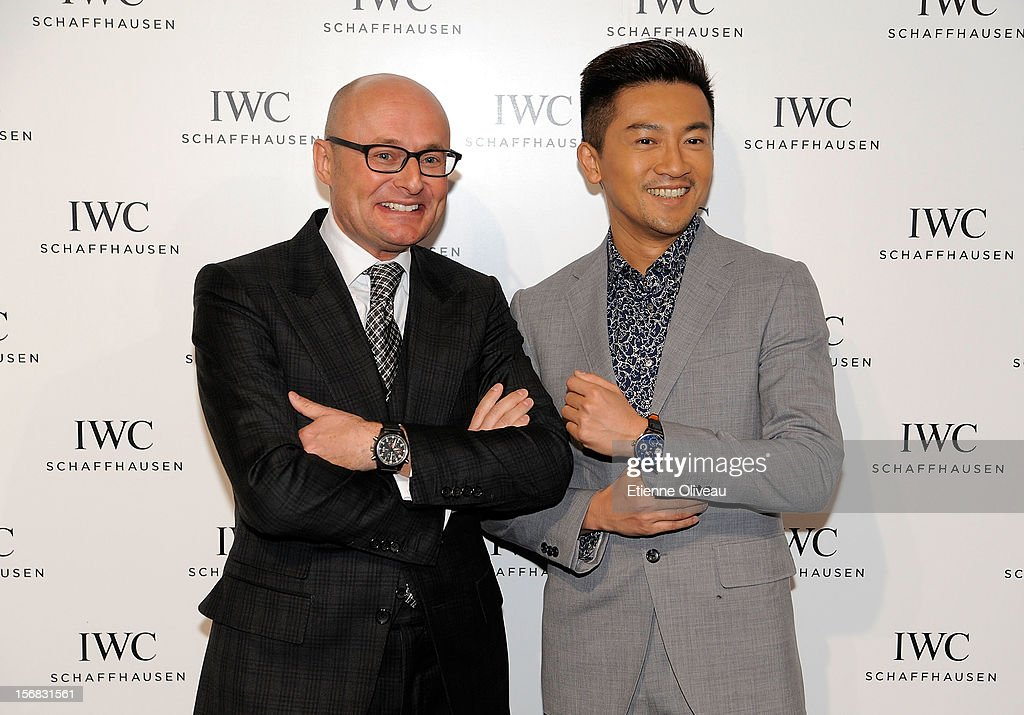 CEO of IWC Georges Kern and actor Alec Su pose for photographs during the IWC Flagship Boutique Opening on November 22, 2012 in Beijing, China.