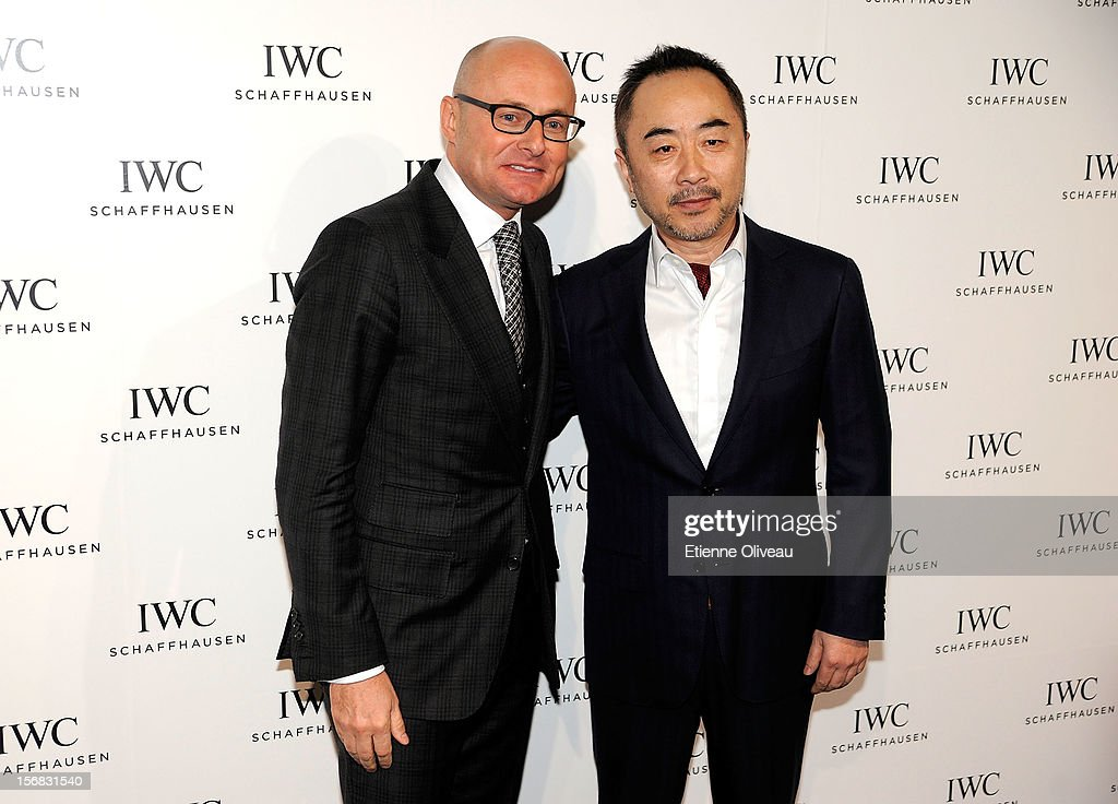 CEO of IWC Georges Kern and artist Wang Lu Yan pose for photographs during the IWC Flagship Boutique Opening on November 22, 2012 in Beijing, China.