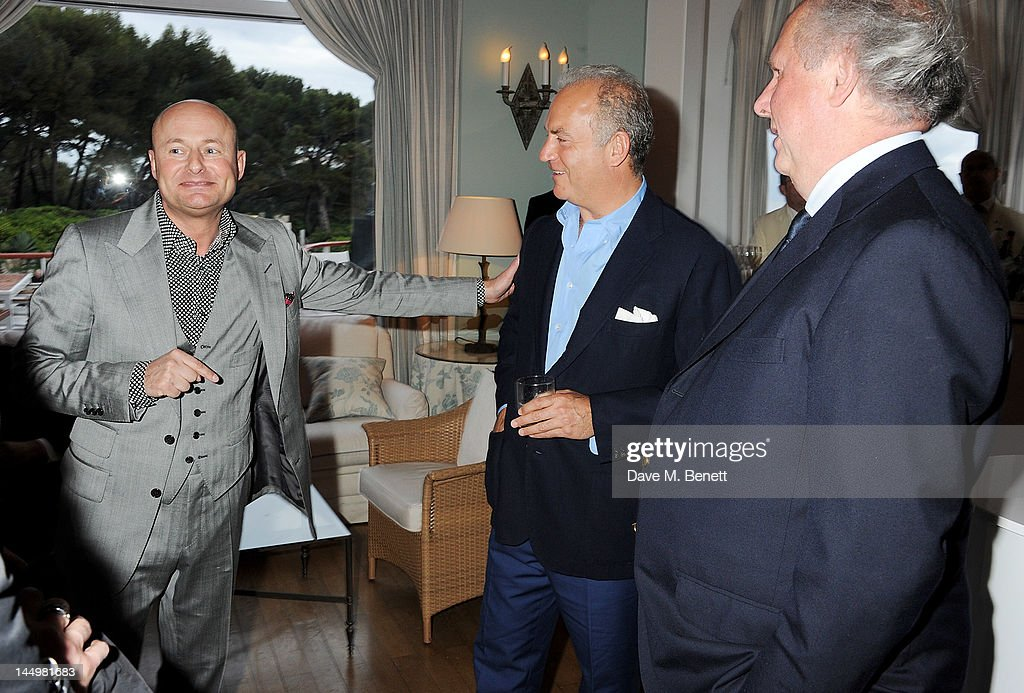 CEO of IWC Schaffhausen Georges Kern, Charles Finch and editor of Vanity Fair Graydon Carter attend the IWC and Finch's Quarterly Review Annual Filmmakers Dinner at Hotel Du Cap-Eden Roc on May 21, 2012 in Antibes, France.
