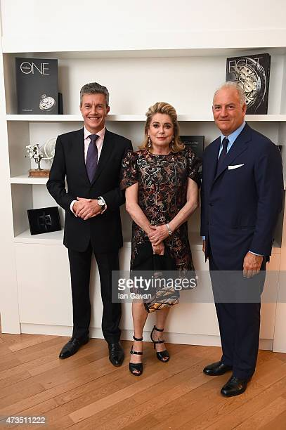 CEO of JaegerLeCoultre Daniel Riedo Catherine Deneuve and Charles Finch attend 'The Art Of Behind The Scenes JaegerLeCoultre And Finch Partners'...