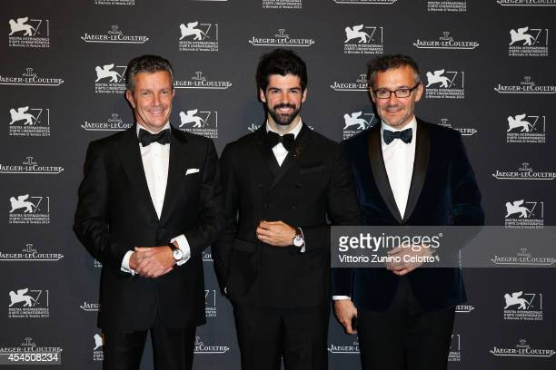 CEO of JaegerLeCoultre Daniel Riedo Miguel Munoz Angel and JaegerLeCoultre Director of Communications Laurent Vinay arrive wearing a JaegerLeCoultre...