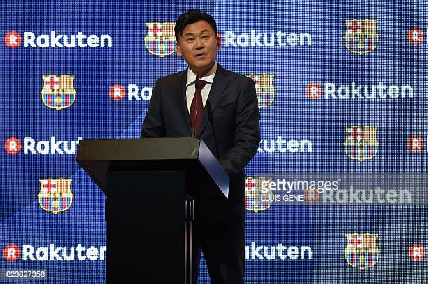 CEO of Japanese company Rakuten Hiroshi Mikitani delivers a speech after signing an agreement between FC Barcelona and its new sponsor Rakuten Inc at...