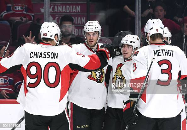 of JeanGabriel Pageau Ottawa Senators celebrates after scoring a goal against the Montreal Canadiens in the NHL game at the Bell Centre on December...