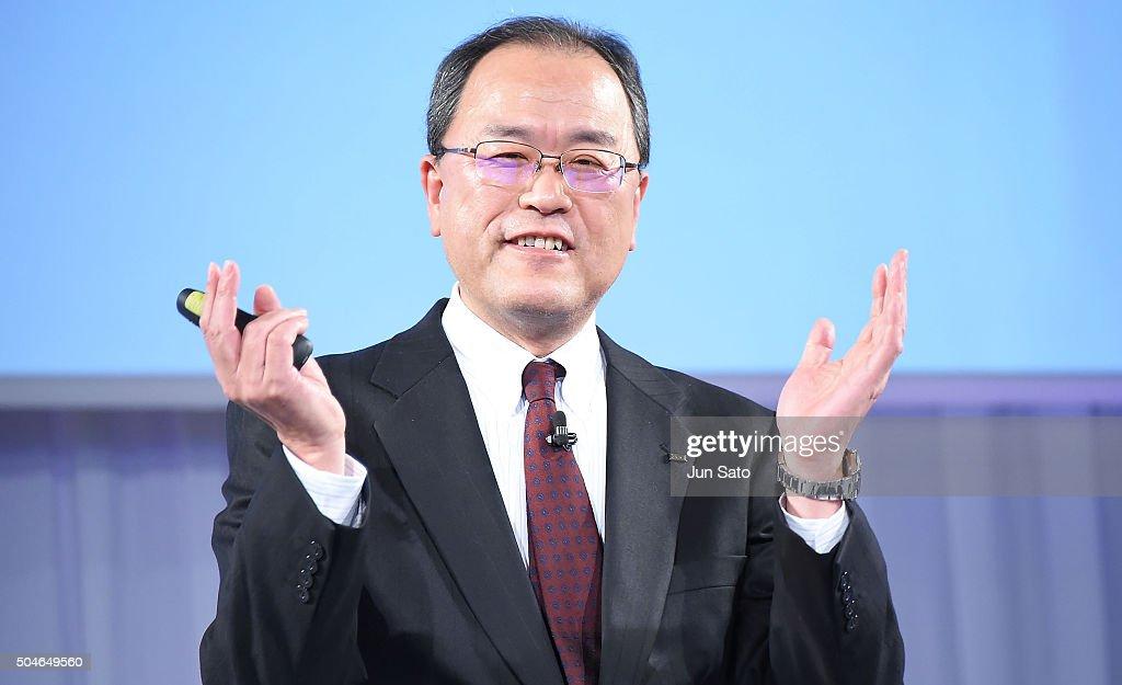 CEO of KDDI Takashi Tanaka attends the KDDI 2016 Spring Press Conference on January 12 2016 in Tokyo Japan