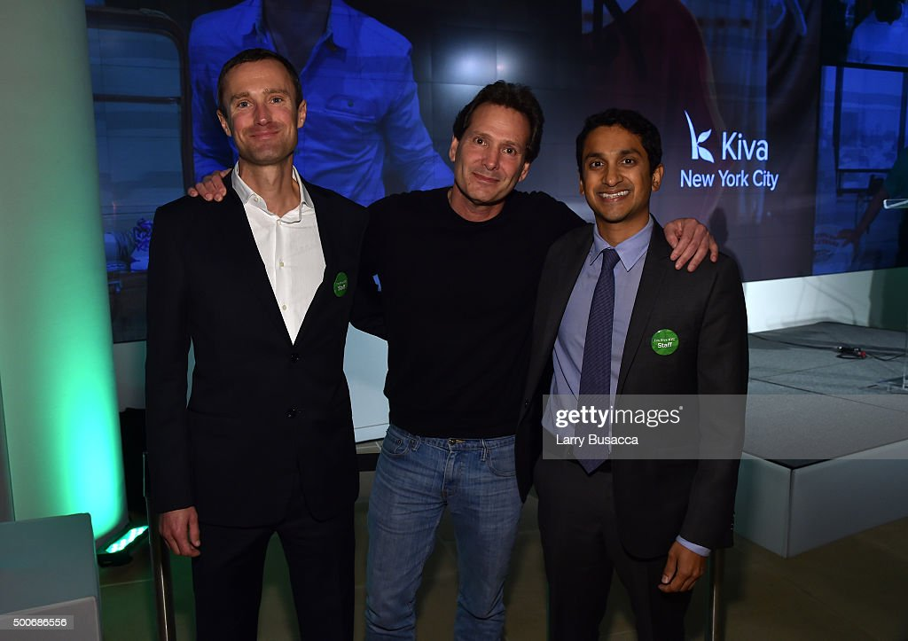 CEO of Kiva Martin Tschopp president and CEO of PayPal Dan Schulman and president and founder of Kiva Premal Shah attend the Kiva NYC launch event at...