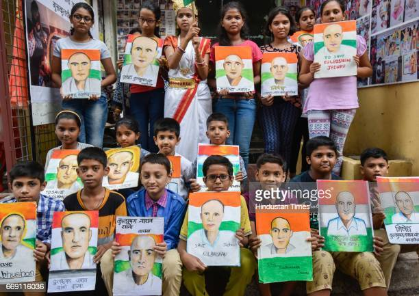 of Kulbhushan Yadav by Gurukul students of art as a protest against Kulbhushan Jadhav death sentence at Lalbaugh on April 15 2017 in Mumbai India