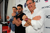CFO of KYBOE Joe Roos Michael Shouhed and CEO of KYBOE Marc Bell pose at the KYBOE Watches Miami Swim Week fashion show on July 15 2016 in Miami...