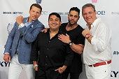 CFO of KYBOE Joe Roos Michael Shouhed Manager Fred Khalifa Michael Shouhed and CEO of KYBOE Marc Bell pose at the KYBOE Watches Miami Swim Week...