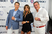 CFO of KYBOE Joe Roos Rachel 'Rocky' Barnes and CEO of KYBOE Marc Bell pose at the KYBOE Watches Miami Swim Week fashion show on July 15 2016 in...