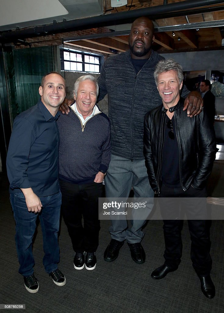 CEO of Kynetic Michael Rubin, CEO of the Kraft Group <a gi-track='captionPersonalityLinkClicked' href=/galleries/search?phrase=Robert+Kraft&family=editorial&specificpeople=221220 ng-click='$event.stopPropagation()'>Robert Kraft</a>, former NBA player <a gi-track='captionPersonalityLinkClicked' href=/galleries/search?phrase=Shaquille+O%27Neal&family=editorial&specificpeople=201463 ng-click='$event.stopPropagation()'>Shaquille O'Neal</a> and recording artist <a gi-track='captionPersonalityLinkClicked' href=/galleries/search?phrase=Jon+Bon+Jovi&family=editorial&specificpeople=201527 ng-click='$event.stopPropagation()'>Jon Bon Jovi</a> attend the Fanatics Super Bowl Party on February 6, 2016 in San Francisco, California.