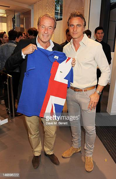 CEO of Lacoste Christophe Chenut and former footballer David Ginola attend the launch of Lacoste's new London Flagship store in Knightsbridge on June...