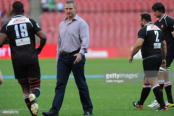of Lions coach Johan Ackermann during the Super Rugby match between Lions and Reds at Ellis Park on March 22 2014 in Johannesburg South Africa