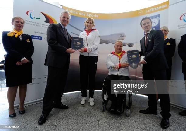 CEO of Lufthansa Christoph Franz track and field athlet Michaela Floeth weigthlifter Mario Hochberg vice president of Deutsche Sporthilfe Michael...