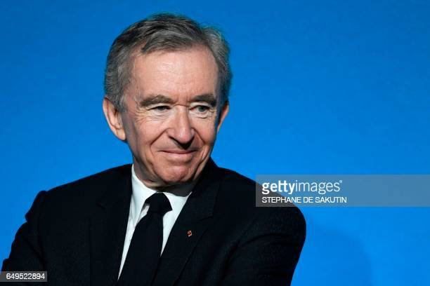CEO of LVMH Bernard Arnault looks on during a press conference to unveil a new museum in Paris on March 8 2017 The former Arts and people's...