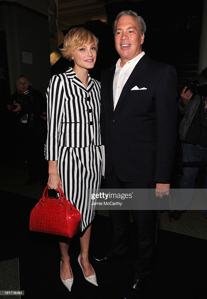 CEO of Marc Jacobs Robert Duffy (R) and <a gi-track='captionPersonalityLinkClicked' href=/galleries/search?phrase=Jessica+Stam&family=editorial&specificpeople=657570 ng-click='$event.stopPropagation()'>Jessica Stam</a> backstage at the Marc Jacobs Collection Fall 2013 fashion show during Mercedes-Benz Fashion Week at New York Armory on February 14, 2013 in New York City.