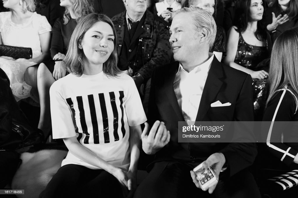 CEO of Marc Jacobs Robert Duffy (R) and <a gi-track='captionPersonalityLinkClicked' href=/galleries/search?phrase=Sofia+Coppola&family=editorial&specificpeople=202230 ng-click='$event.stopPropagation()'>Sofia Coppola</a> attend the Marc Jacobs Collection Fall 2013 fashion show during Mercedes-Benz Fashion Week at New York Armory on February 14, 2013 in New York City.