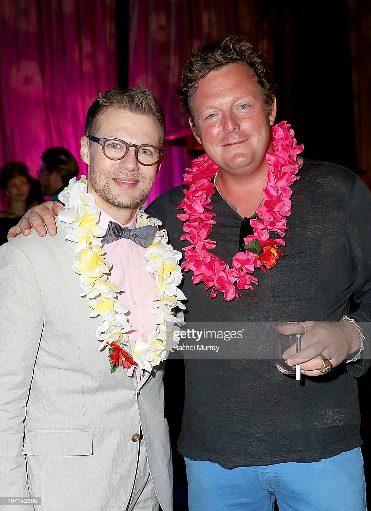 VP of Marketing, Ferrari North America Jeff Curry (L) and artist Urs Fischer attend 'Yessss!' MOCA Gala 2013, celebrating the opening of the exhibition Urs Fischer - Ferrari at MOCA Grand Avenue on April 20, 2013 in Los Angeles, California.