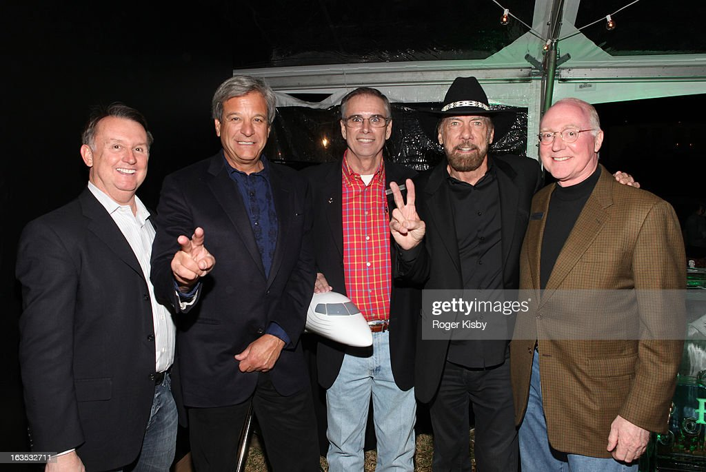 VP of Marketing of Embraer Clint Clouatre, Forbes Media CEO Mike Perlis, Regional Sales Manager of Embraer Randolph R. Becker, John Paul DeJoria, VP of Sales of Embraer Keith Garner attend Forbes' '30 Under 30' SXSW Private Party on March 11, 2013 in Austin, Texas.