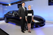 CEO of Maserati Europa Giulio Pastore and racing driver Vicki ButlerHenderson attend a VIP dinner hosted by Maserati to unveil the new 'Quattroporte'...