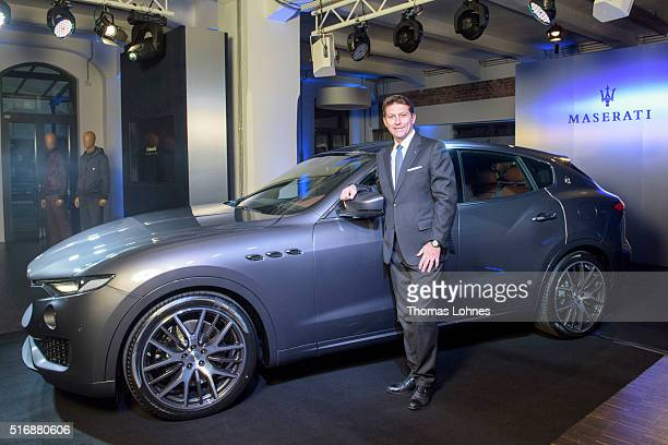 CEO of Maserati Europa Giulio Pastore pictured with the new Maserati Levante at 'Klassikstadt' on March 21 2016 in Frankfurt am Main Germany