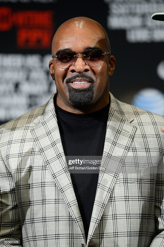 CEO of Mayweather Promotions Leonard Ellerbe speaks to the media during the final news conference for the bout between boxers Daniel Ponce De Leon and Abner Mares at the MGM Grand Hotel/Casino on May 2, 2013 in Las Vegas, Nevada. Daniel Ponce De Leon will defend his WBC featherweight title against Mares.