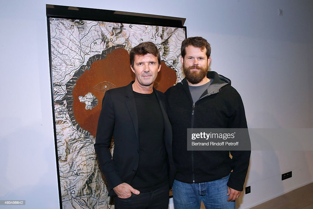 CEO of Mazarine Group and Founder of 'Studio des Acacias' Paul-Emmanuel Reiffers and Artist Matthew Day Jackson attend the 'New American Art', Exhibition of Artists Matthew Day Jackson and Rashid Johnson, Opening Cocktail at Studio des Acacias on October 20, 2015 in Paris, France.