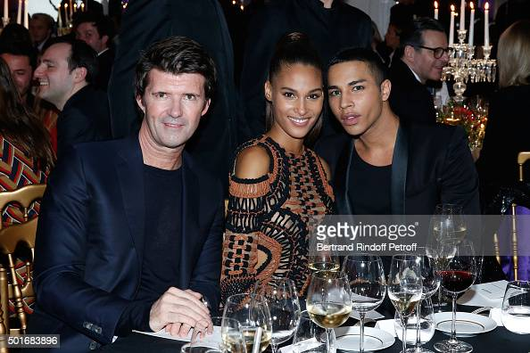 CEO of Mazarine Group and Founder of 'Studio des Acacias' PaulEmmanuel Reiffers Model Cindy Bruna and Balmain Fashion Designer Olivier Rousteing...