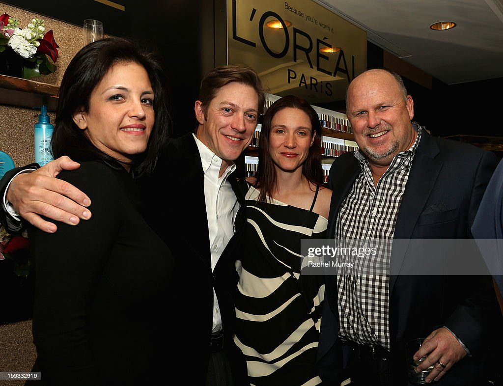COO of Mediaplacement Nancy Johnson, actor Kevin Rahm, Amy Lonkar and CEO of Mediaplacement Britt Johnson attend the L'Oreal cocktail party prior to the HBO Luxury Lounge at Four Seasons Hotel Los Angeles at Beverly Hills on January 11, 2013 in Beverly Hills, California.