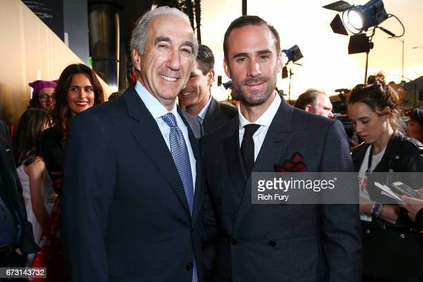 CEO of MGM Gary Barber and actor Joseph Fiennes attend the premiere of Hulu's 'The Handmaid's Tale' at ArcLight Cinemas Cinerama Dome on April 25...