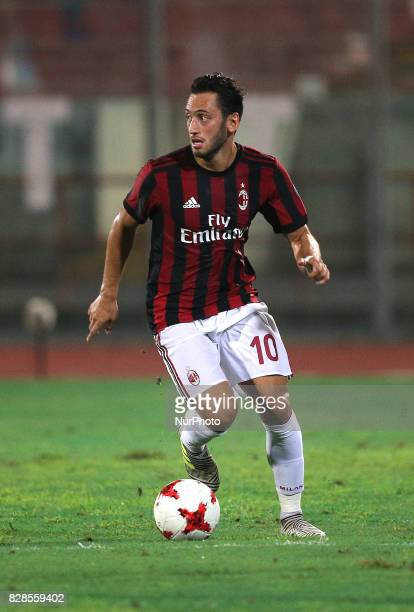 CALHANOGLU of Milan during the PreSeason Friendly match between AC Milan and Villareal at Stadio Angelo Massimino on August 9 2017 in Catania Italy