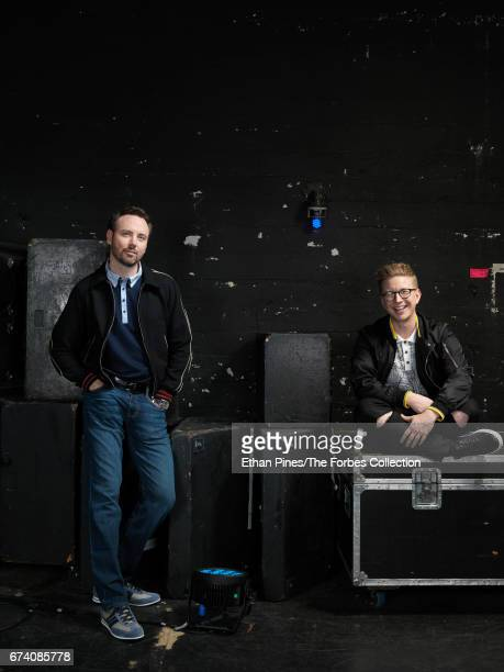 CEO of Mills Entertainment Michael Mills and YouTube star Tyler Oakley are photographed for Forbes Magazine on March 21 2017 at the Saban Theatre in...