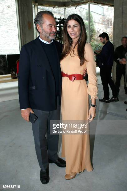 CEO of Moncler Remo Ruffini and Christina Pitanguy attends the Giambattista Valli show as part of the Paris Fashion Week Womenswear Spring/Summer...