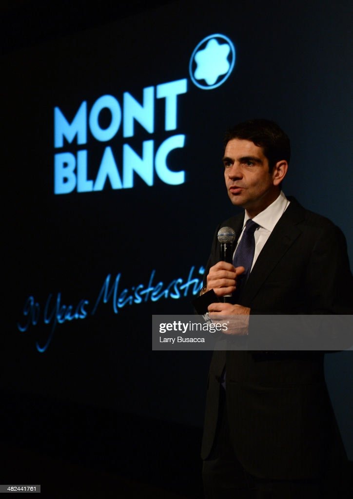 CEO of Montblanc International Jerome Lambert speaks at Montblanc Celebrates 90 Years of the Iconic Meisterstuck on April 3 2014 at Guastavino's in...