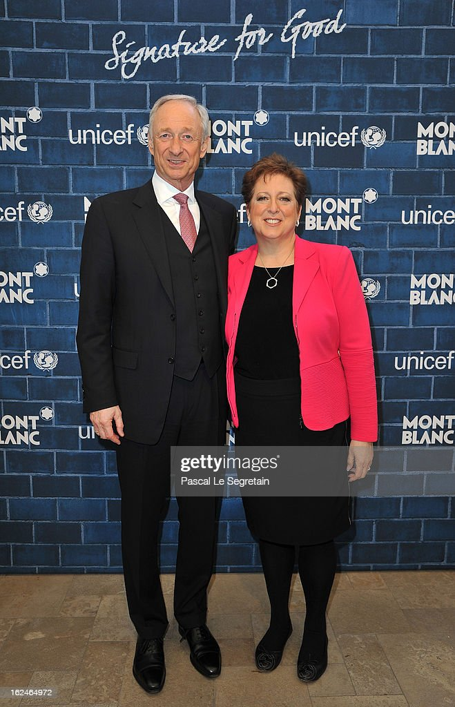 CEO of Montblanc International Lutz Bethge and US Fund for UNICEF President and CEO Caryl M Stern wearing Montblanc Star 4810 necklace and earrings...