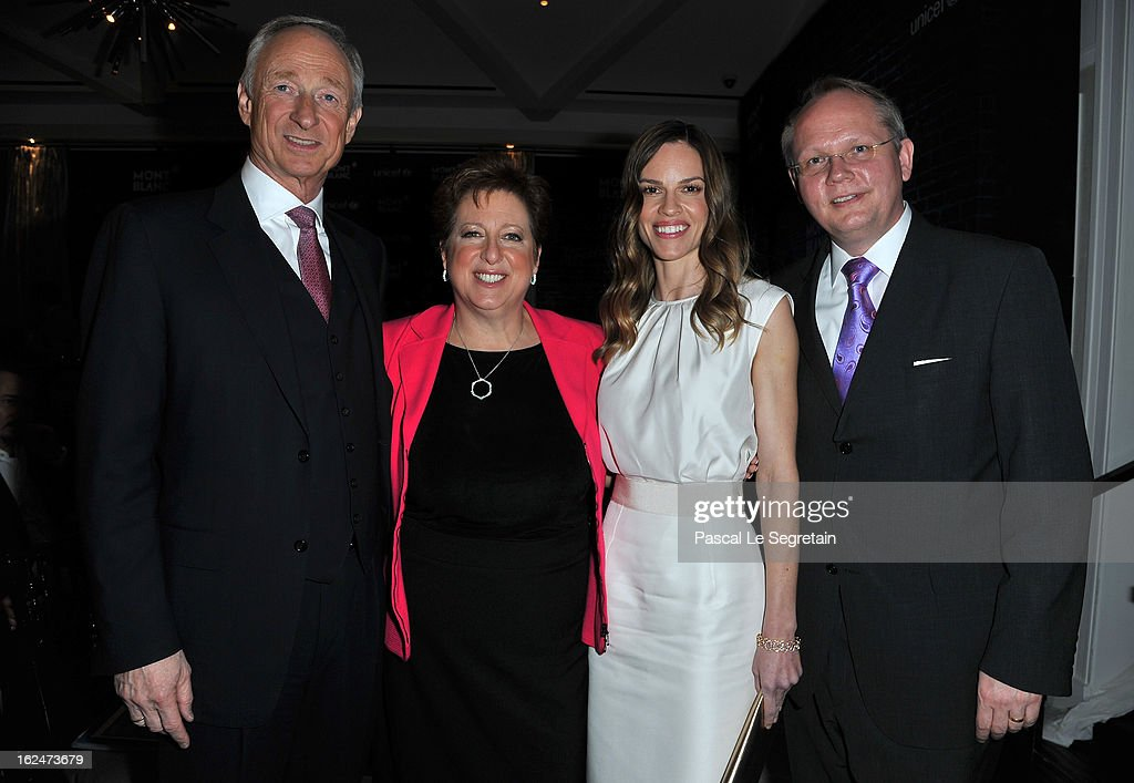 CEO of Montblanc International Mr. Lutz Bethge, U.S. Fund for UNICEF President and CEO Caryl M. Stern wearing Montblanc Star 4810 necklace and earrings, Hilary Swank wearing Montblanc Collection Princesse Grace de Monaco in Red Gold and diamonds and President and CEO of Montblanc North America Jan Patrick Schmitz attend a Pre-Oscar charity brunch hosted by Montblanc and UNICEF to celebrate the launch of their new 'Signature For Good 2013' Initiative with special guest Hilary Swank at Hotel Bel-Air on February 23, 2013 in Los Angeles, California.
