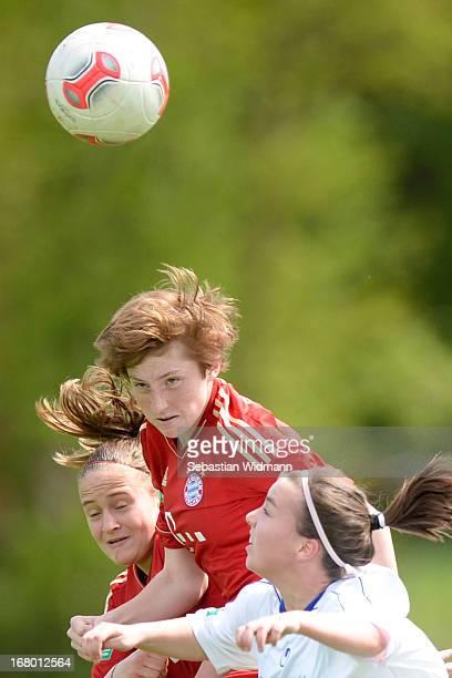 XXXX of Muenchen challenges XXX of Sindelfingen during the B Junior Girls match between Bayern Muenchen and VfL Sindelfingen at Sportpark Aschheim on...