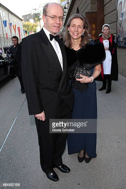 CEO of Munich Re Nikolaus von Bomhard and his wife attend the opening of the easter festival 2014 on April 12 2014 in Salzburg Austria