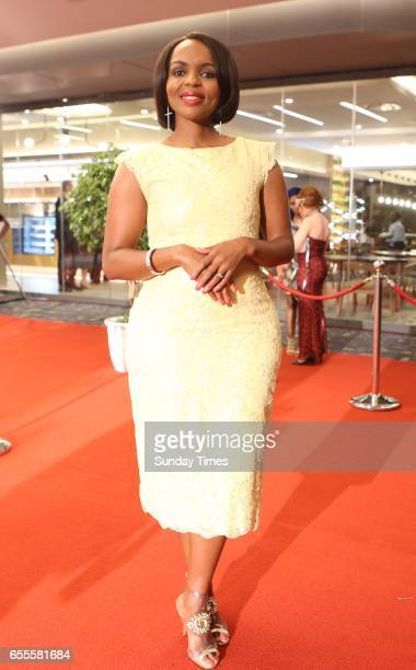 CEO of National Film and Video Foundation Zama Mkosi poses on the red carpet during the South African Film and Television Awards at Sun City on March...