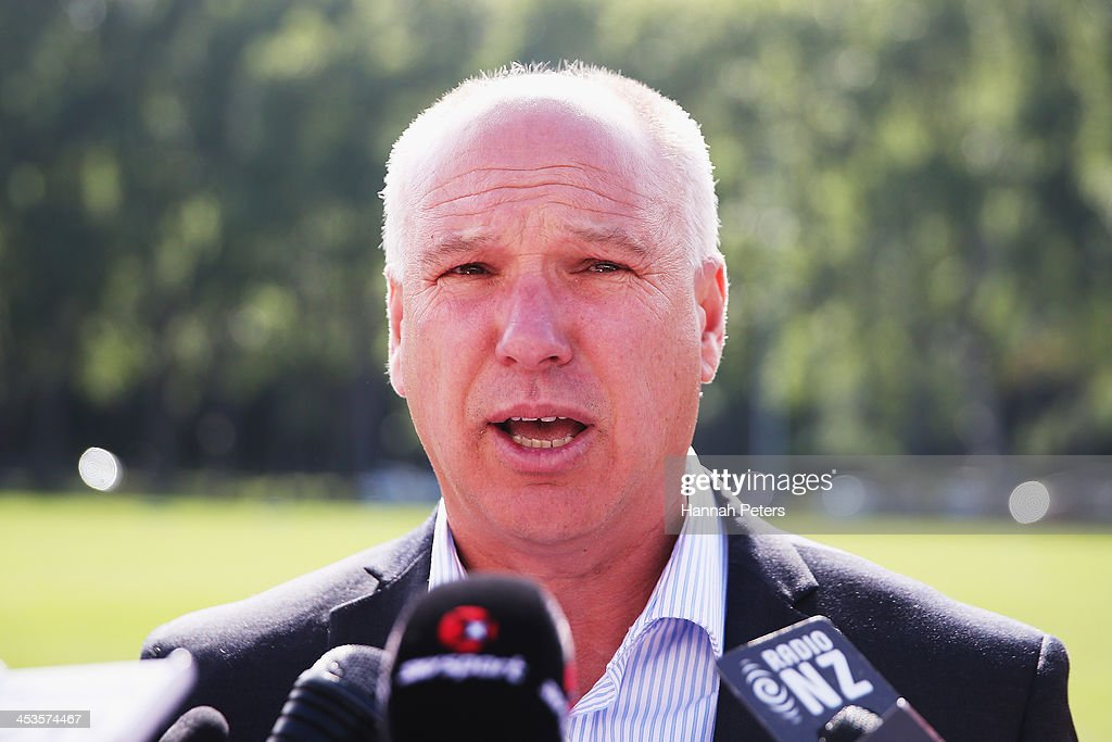 CEO of New Zealand Cricket David White reads a statement to the media at University Oval on December 5 2013 in Dunedin New ZealandThe International...