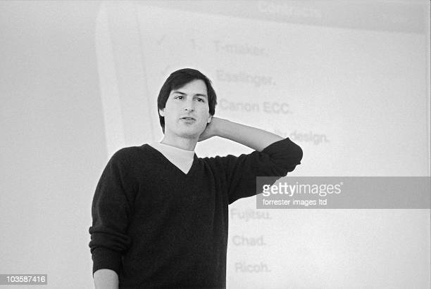 CEO of NeXT Steve Jobs at a meeting in Palo Alto December 1986
