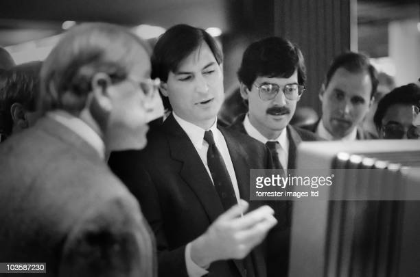 CEO of NeXT Steve Jobs meets and greets at a Washington DC conference where he and board member Ross Perot introduced the latest in NeXT Computers in...