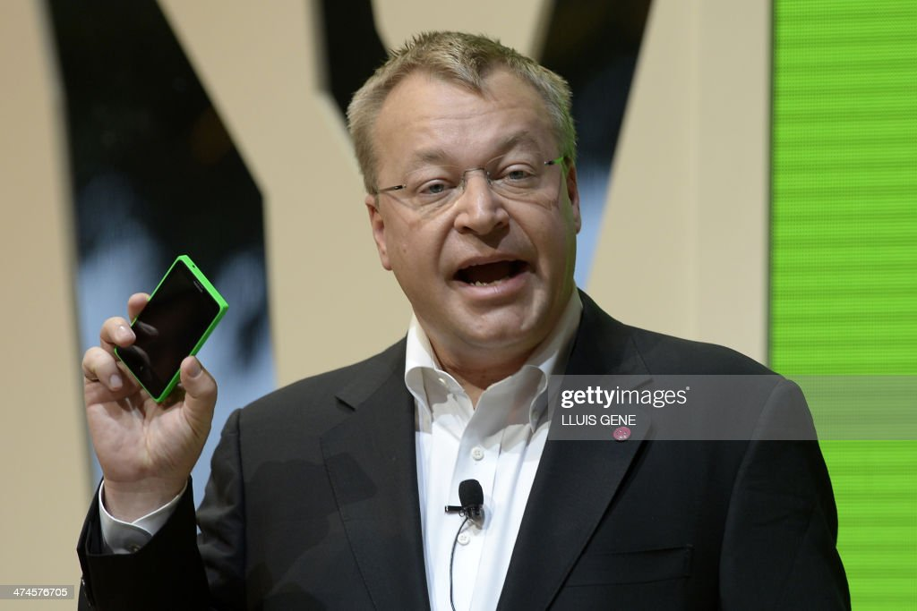 CEO of Nokia Corporation Stephen Elop presents the new Nokia X at the Mobile World Congress in Barcelona, on February 24, 2014. The Mobile World Congress runs from the 24 to 27 February where participants and visitors alike can attend conferences, network, discover cutting-edge products and technologies at among the 1,700 exhibitors as well as seek industry opportunities and make deals.