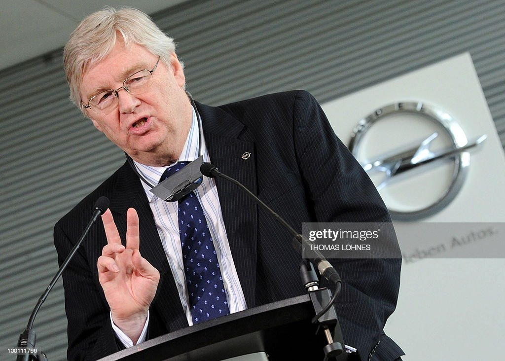 CEO of Opel, Nick Reilly addresses workers at the Opel plant in the central German city of Ruesselsheim on May 21, 2010. General Motors' European unit Opel and unions have agreed on terms of a long-awaited restructuring plan, knocking the ball back into Berlin's court, with GM hoping for financial guarantees in return.
